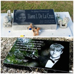 Laser etched memorial markers with photos