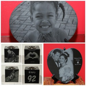 Laser etched portraits vases and murals