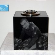 Granite memorial flower vase with laser etched photos