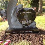 Angel Heart Headstone Laser Etched headstone UK bespoke memorials