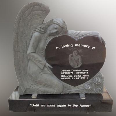 Angel heart granite memorial headstone with laser engraving