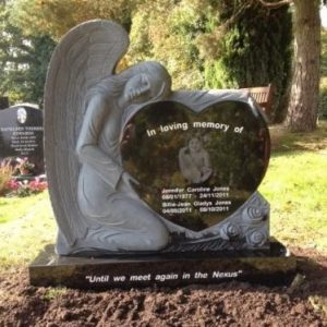 Angel Heart Headstone Laser Etched headstone UK bespoke memorials