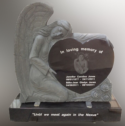 Angel heart granite memorial headstone with laser engraving